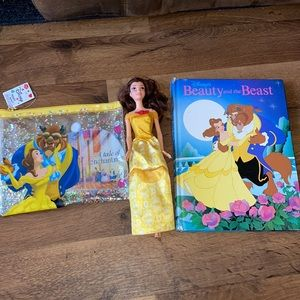 Vintage Beauty and the Beast Book, Belle, & Pouch